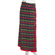 Vintage 1970's Multi-Colored Woven Wool Maxi Wrap Skirt