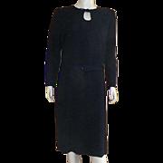 Vintage 1980's Jaeger Of Great Britain Black Wool Crepe Dress