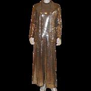 Vintage 1970's Long Gold Sequin Halter Dress and Jacket