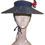Vintage 1940's Black Cartwheel Hat With Red Velvet Cherries