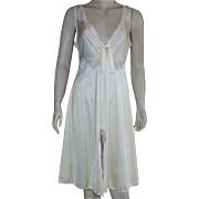 Vintage Yellow Nylon Nightgown With Ecru Lace Details