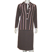 1970's Three Piece Brown Double Knit Wool Suit