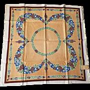 SOLD Vintage Hand Printed Linen Bridge Cloth & Napkins Set Never Used - Red Tag Sale Item