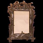 SALE PENDING Vintage Metal Art Nouveau Frame Iris Motif