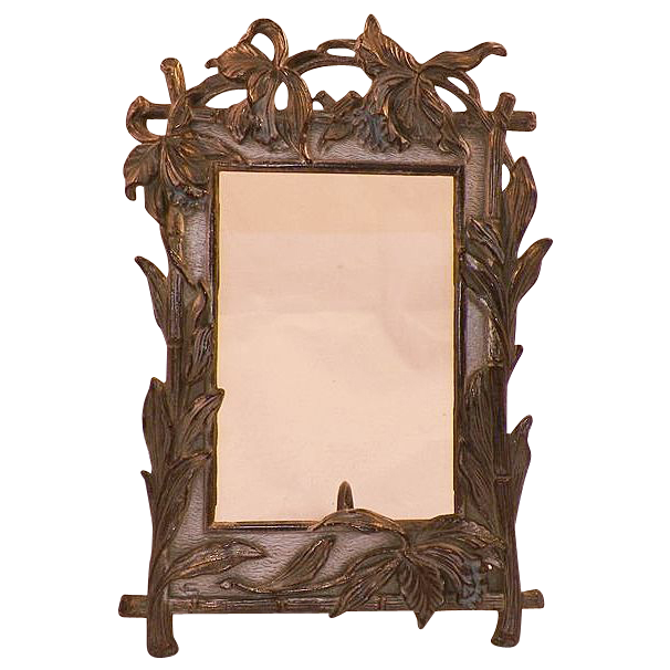 vintage metal art nouveau frame iris motif from. Black Bedroom Furniture Sets. Home Design Ideas