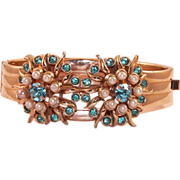 REDUCED Vintage Barclay Gold Plated Cuff Bracelet With Aqua Rhinestones and Faux Pearls
