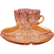 REDUCED Vintage Venetian Gilt Glass Cup And Saucer
