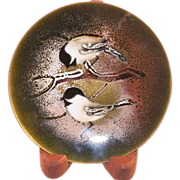 REDUCED Vintage Norman Brumm Enamel On Copper Plate Two Birds