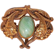 SALE PENDING Art Nouveau Gold Filled Watch Pin With Green Peking Glass Stone