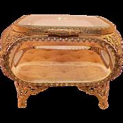 SOLD Vintage French Style Ormolu Filigree & Bevelled Glass Dresser Box