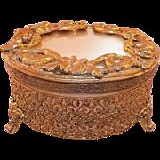 REDUCED Vintage Round Ormolu Filigree Dresser / Powder Jar