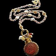 Mystic Garnet Cultured Keshi Pearls Cranberry Glass Chatelaine Scent Bottle Necklace - Alora N