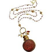 Mystic Garnet Cultured Keshi Pearls Cranberry Glass Chatelaine Scent Bottle Necklace - Alora N
