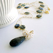 Labradorite Slices Moonstone Layering Necklace Set - Alena Layering Necklaces