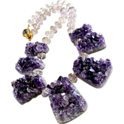 Amethyst Druzy Choker Necklace -  Ambrosia Necklace