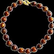 Copper Colored Baroque Cultured Pearl Choker Necklace - Ardria Necklace