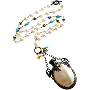 Mother of Pearl Chatelaine Scent Bottle Cultured Pearls Sleeping Beauty Turquoise Necklace -