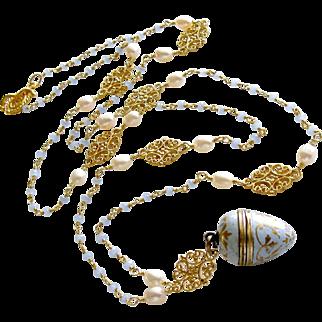 Austro-Hungarian Enamel Egg Vinaigrette Blue Chalcedony Pearls Filigree Necklace - Brezza Dolce III Necklace