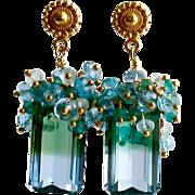 Blue Green Emerald Cut Ametrine Cluster Earrings - Bella II Earrings