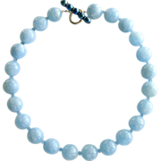 Aquamarine Necklace London Blue Topaz Cultured Pearl Clasp - Bevin Necklace