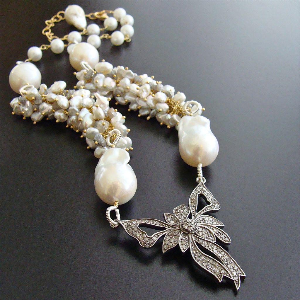 Rhodium Silver Diamond Bow Raw Diamonds Cultured Keshi & Flameball Pearls Necklace - Charmaine Necklace