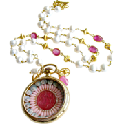 Sailor's Valentine Shell Mosaic Intaglio Cameo Pocket Watch Pink Sapphire Baroque Cultured P