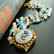 Sleeping Beauty Turquoise Moonstone  Pinchbeck Clasp Bracelet - Dottie Bracelet