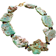 Chrysoprase Slices & Smokey Quartz Necklace - Dyann II Necklace