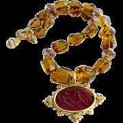 Faceted Citrine Ametrine Intaglio Choker Necklace - Lecce II Necklace