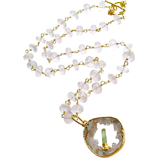 Rose Quartz Druzy Slice Green Tourmaline Crystal Necklace - Langley Necklace