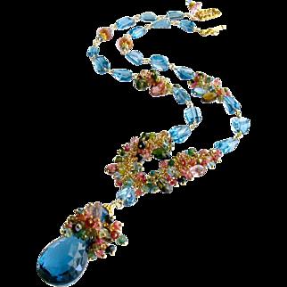 London Blue Topaz Briolette Nuggets Pink Topaz Tourmaline Tendrils Necklace - Melodie II Necklace