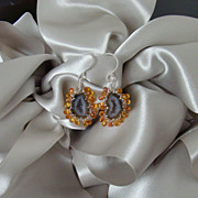 Agate Druzy Geodes  Sapphires Earrings - Natalie Earrings