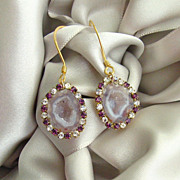 Pink Geode Druzy Earrings Vintage Amethyst Colored Crystal Rhinestone Earrings - Panisi Earrin