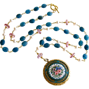 Apatite Pink Topaz Cultured Pearls Art Nouveau Enamel Locket Necklace - Rosaline Necklace