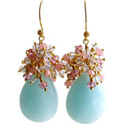 Amazonite Lavender Opal Quartz Pink Topaz Pink Quartz Cluster Earrings - Seraphine Earrings