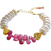 Pink Sapphire Cultured Coin Pearl Filigree Heart Bracelet - Valentina II Bracelet