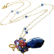 Blue Quartz (Glass) Scalloped Pendant with Kyanite, Mystic Kyanite & Rubellite Clusters - Vivi