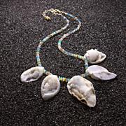 Fossilized Druzy Shells Ethiopian Opals Statement Necklace - Zara Necklace
