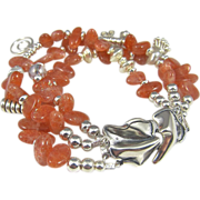 Multi Strand Bracelet  ~ THE KHALEESI ~ Sunstones, Hill Tribe Silver, Sterling, CF Pearls