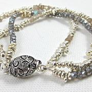 REDUCED Bracelet ~ SILVER MARTINI ~ 3 Strands of Molten Silver & Gemstones