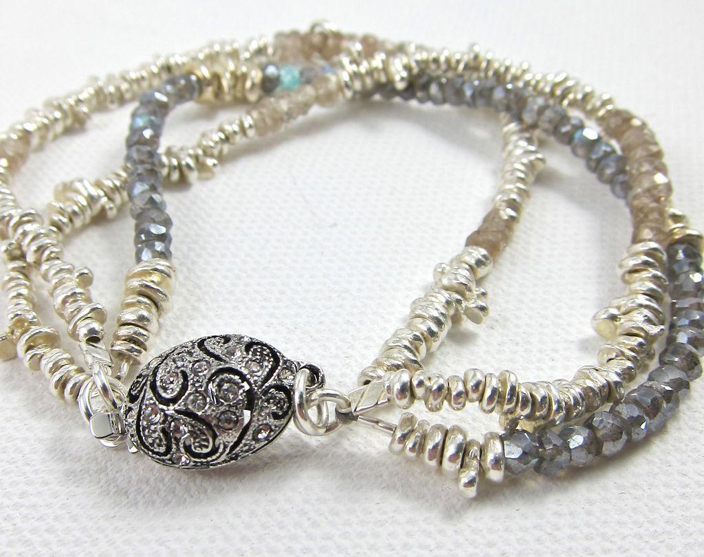 Bracelet ~ SILVER MARTINI ~ 3 Strands of Molten Silver & Gemstones