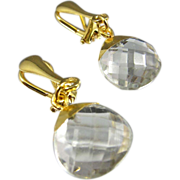 Clip-on Drop Earrings ~ NIGHTLITES ~ Crystal Quartz, 22KT Gold & Vermeil