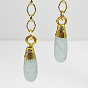 REDUCED Drop Earrings ~ DAYDREAMS ~ Aquamarine, 22Kt Gold Leaf, Gold-Fill  & Vermeil