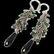 Drop Earrings ~ JUNIPER ~ Swarovski Crystal, Cultured Freshwater Pearls, Sterling Silver, Silv