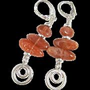 Drop Earrings ~ KHALEESI ~ Sunstone, Sterling Silver