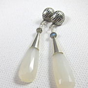 Drop Earrings ~ MILKY WAY ~ White Chalcedony, Sterling Silver, Labradorite