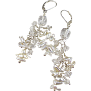 SALE PENDING Drop Earrings ~ PEARL PETTICOATS ~ Japanese Akoya Keishi Pearls, Herkimer Diamond