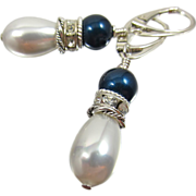 SOLD Drop Earrings ~ RIVIERA EAST ~ Swarovski Pearls, Shell Pearls, Sterling Silver