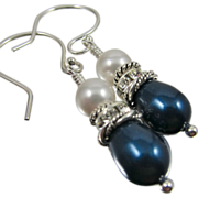 Drop Earrings ~ RIVIERA WEST ~ Swarovski Crystal Pearls & Sterling