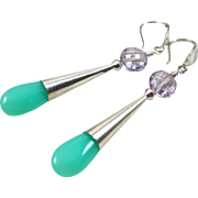 Drop Earrings ~ A SCOOP OF SPEARMINT ~ Chrysoprase, Pink Amethyst, Sterling Silver